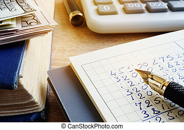 Small business finances. Money, accounting book and calculator.