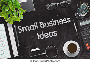 Small Business Ideas on Black Chalkboard. 3D Rendering.