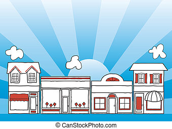 Small business main street illustration, downtown community shops and stores; blue ray background; copy space. EPS8 compatible.