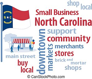 Small Business word cloud illustration encourages shopping at local and community businesses, shoppers on Main Street, red, white and blue North Carolina the Tar Heel State flag of the United States of America. EPS8 compatible.