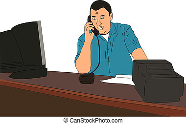 Small Business Owner at Desk vector