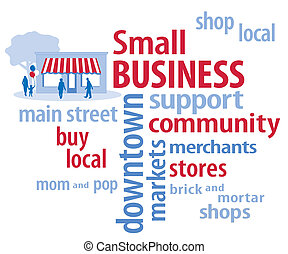 Small business word cloud in red, white and blue. Main street store, customers. To support shopping at local community neighborhood businesses. EPS8 compatible.
