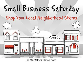 Small Business Saturday encourages shopping at small, local main street stores and shops. American event on Saturday after Thanksgiving holiday. EPS8 compatible.