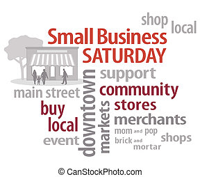Small Business Saturday word cloud with store graphic. American promotion held on Saturday after Thanksgiving to encourage shopping at local community businesses. EPS8 compatible.