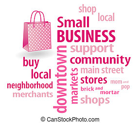 Small Business Shopping Bag - Small Business word cloud with...