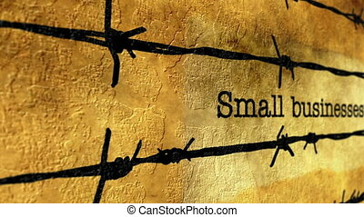 Small business text against barbwire