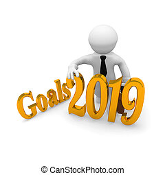 Small businessman with goals 2019 in Gold