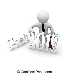 Small businessman with goals 2019 in silver