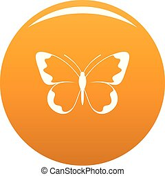Small butterfly icon vector orange