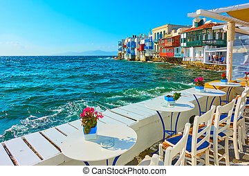 Small cafe by the sea in Mykonos