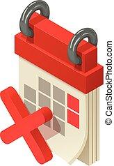 Small calendar icon, isometric style