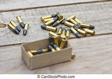 Small caliber ammunition in a pile