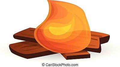 Small campfire icon, cartoon style