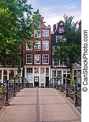 Small canal bridge in Amsterdam