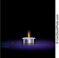 small candle purple - black background and a small purple...