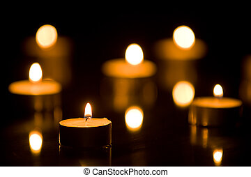 Small Candles Flickering with Shallow DOF