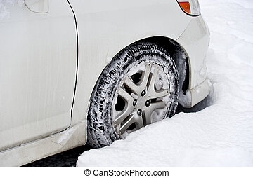 Small Car Front Wheel in Deep Snow