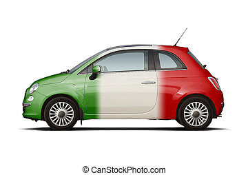Small car in colors of italian flag - Retro style compact...