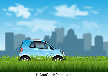 Small car on the grass