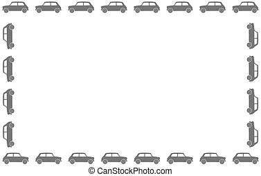 A small car silhouette border on a white background