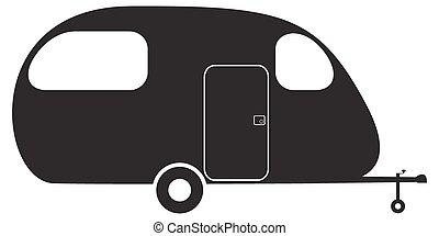 Caravan Silhouette Several Mobile Homes Illustration In Blue Colors