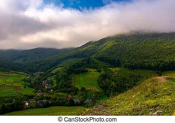 small Carpathian village in mountains. beautiful landscape...
