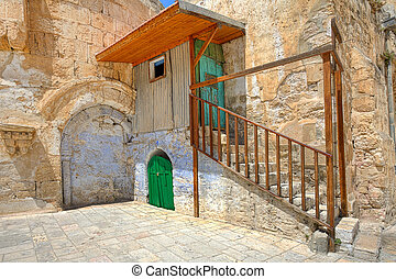 Small cell of coptic church in Jerusalem, Israel.