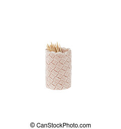 Small ceramic cup with toothpick isolated on white background