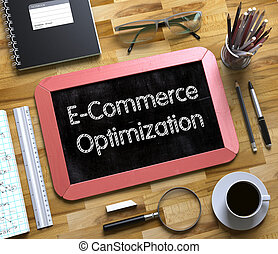 Small Chalkboard with E-Commerce Optimization. 3D.