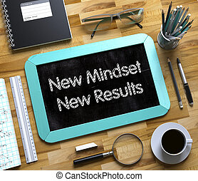 Small Chalkboard with New Mindset New Results. 3D.