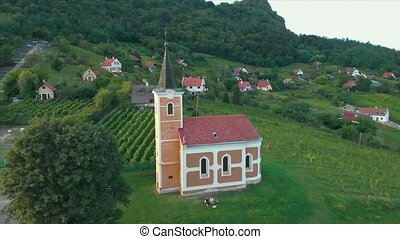 Small chapel on a mountain Saint George in Hungary, near the...