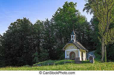 Small chapel on the hill in Berchtesgaden Bavarian national park