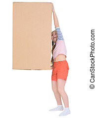 Small cheerful girl drags big cardboard box isolated on white