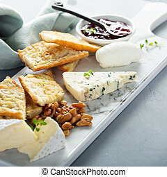 Small cheeseboard with baguette - Small cheeseboard with...