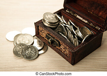 small chest of Russian ruble coins