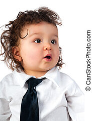child dressed in a business