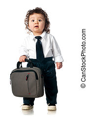 child dressed in a business with a bag