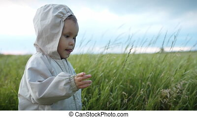 Small child playing with grass in the field.