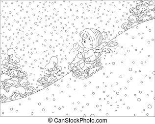 Small child sleighing - Vector illustration of a boy sliding...