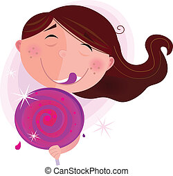 Small girl with lollipop. Vector Illustration