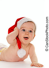 Small child with Santa Claus hat baby isolated on white ...