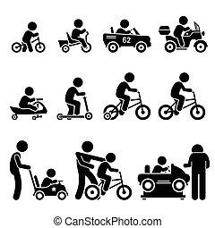 Small Children Riding Toy Vehicles - Vector set of small...