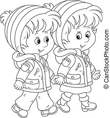 A friendly smiling girl and a boy going and talking together