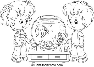 Cheerful little kids and their cute cat, friendly smiling, watching a funny toy fish and going to feed it, black and white outlined vector cartoon illustration for a coloring book page