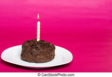 chocolate cake with birthday candle