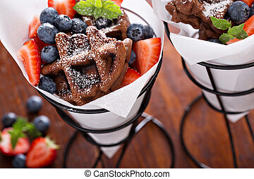 Small chocolate waffles in cones - Small chocolate waffles ...