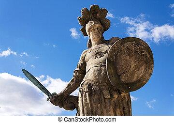 Small Christian warrior statue from Matyas Braun, 1731,...