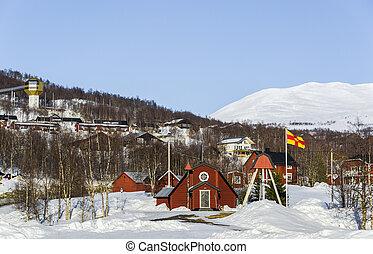 Small church at Hemavan ski resort in Sweden.
