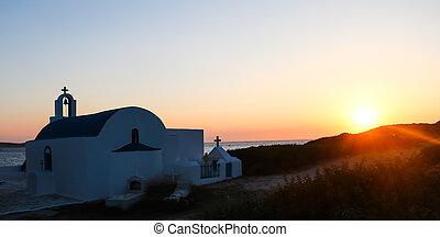 Small church at sunset