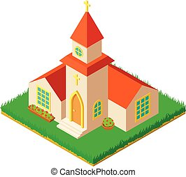 Small church icon, isometric style